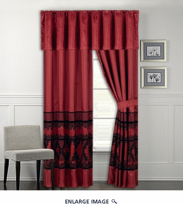 Maryland Burgundy and Black Curtain Set