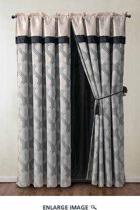 Mckenzie Beige and Black Jacquard Curtain Set w/ Valance/Sheer/Tassels