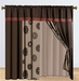 Medallion Brick and Coffee Curtain Set w/ Valance/Sheer/Tassels