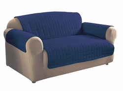 Navy Blue Micro Suede Loveseat Protector