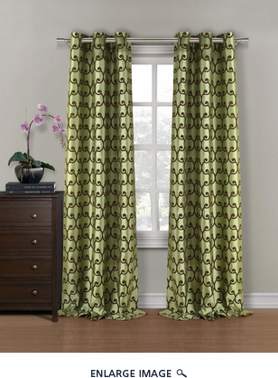 Pair of Amora Sage/Chocolate Flocking Window Curtain Panels w/Grommets