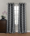 Pair of Amora Silver/Black Flocking Window Curtain Panels w/Grommets