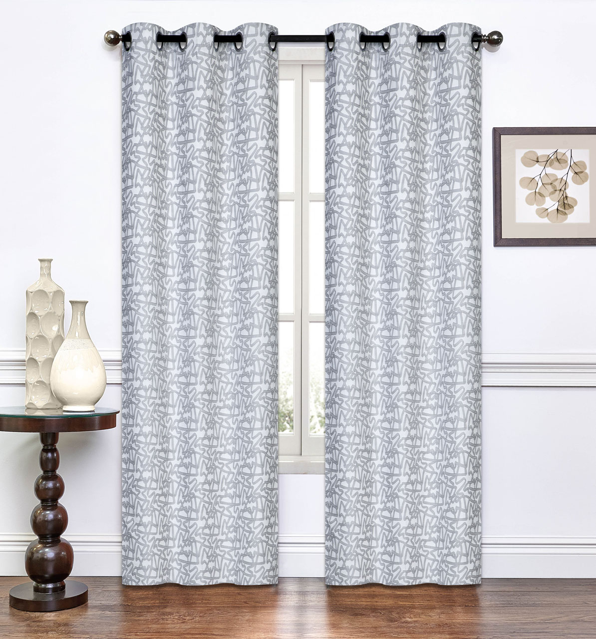 Pair Of Annette Light Gray Window Curtain Panels W