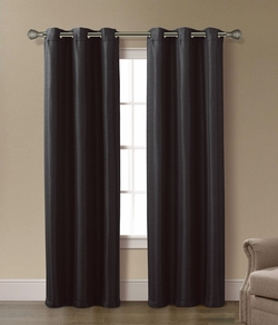 Pair of Arianna Black Jacquard Window Curtain Panels w/Grommets