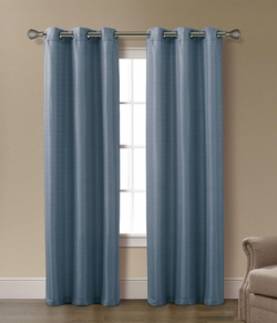 Pair of Arianna Blue Jacquard Window Curtain Panels w/Grommets