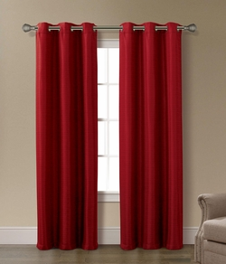 Pair of Arianna Burgundy Jacquard Window Curtain Panels w/Grommets