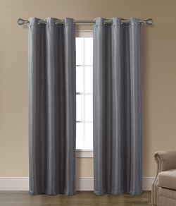 Pair of Arianna Charcoal Jacquard Window Curtain Panels w/Grommets