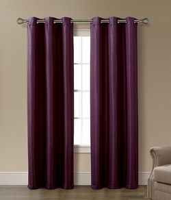 Pair of Arianna Plum Jacquard Window Curtain Panels w/Grommets
