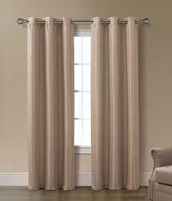 Pair of Arianna Taupe Jacquard Window Curtain Panels w/Grommets