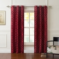 Pair of Astor Red/Black Flocking Window Curtain Panels w/Grommets