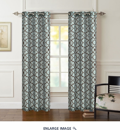 Pair of Astor Spa/Chocolate Flocking Window Curtain Panels w/Grommets