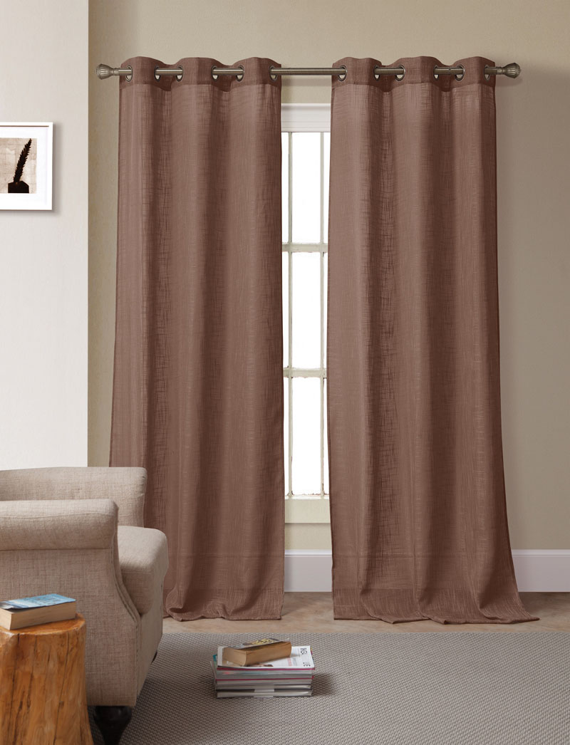 Pair of Bahama Chocolate Solid Linen Window Curtain Panels w/Grommets