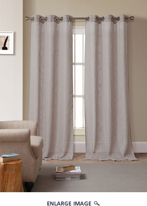 Pair of Bahama Gray Solid Linen Window Curtain Panels w/Grommets
