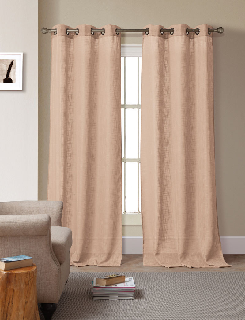 Pair of Bahama Taupe Solid Linen Window Curtain Panels w/Grommets