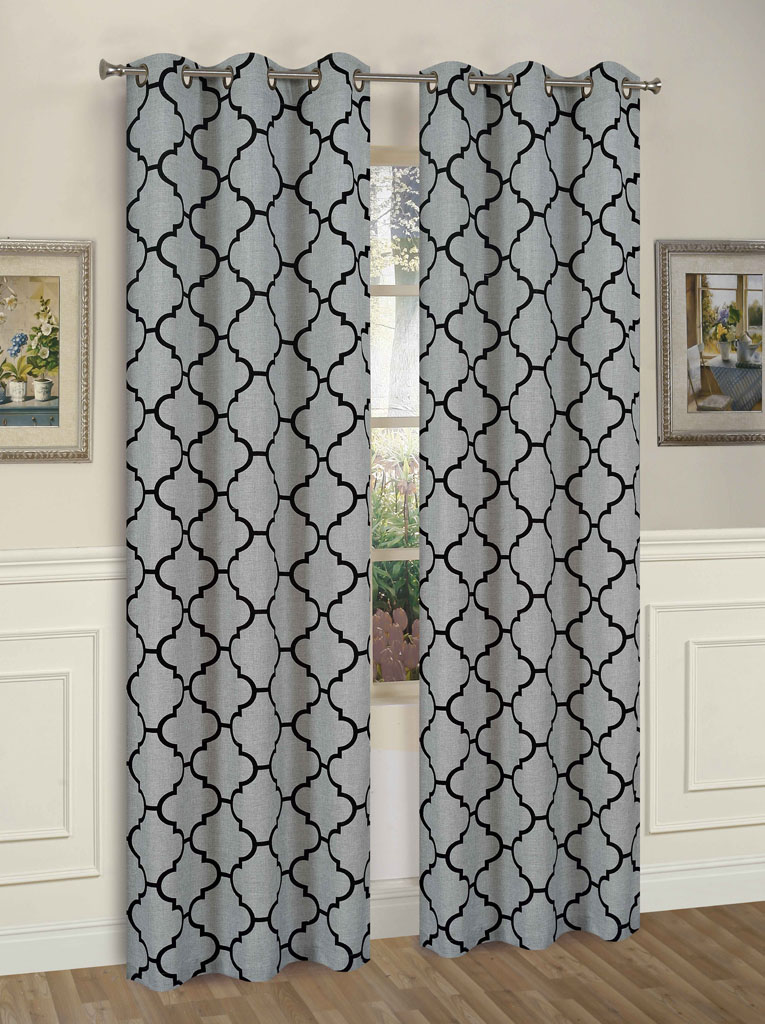 Pair of Brooklyn Black/Gray Window Curtain Panels w/Grommets