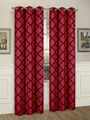 Pair of Brooklyn Burgundy/Black Window Curtain Panels w/Grommets