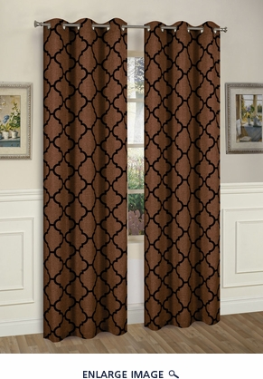 Pair of Brooklyn Chocolate/B;lack Window Curtain Panels w/Grommets