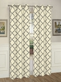 Pair of Brooklyn Ivory/Charcoal Window Curtain Panels w/Grommets