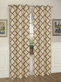 Pair of Brooklyn Taupe/Chocolate Window Curtain Panels w/Grommets