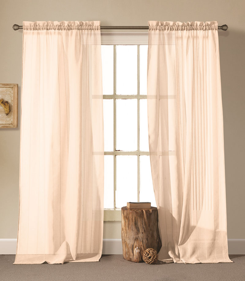 Pair of Cassidy Off-White Linen Window Curtain Panels w/Rod Pocket