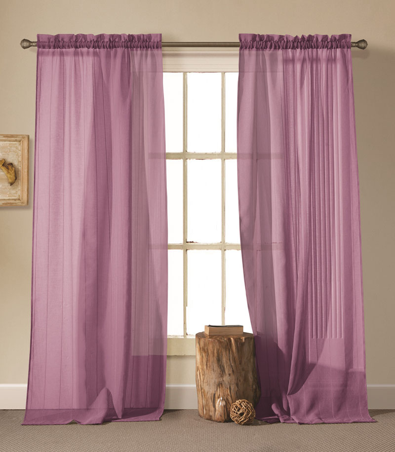 Pair of Cassidy Purple Linen Window Curtain Panels w/Rod Pocket