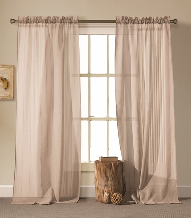 Pair of Cassidy Taupe Linen Window Curtain Panels w/Rod Pocket