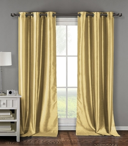 Pair of Davis Beige Faux Silk Window Curtain Panels w/Grommets