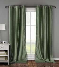 Pair of Davis Sage Faux Silk Window Curtain Panels w/Grommets