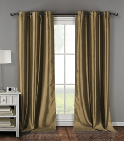 Pair of Davis Taupe Faux Silk Window Curtain Panels w/Grommets