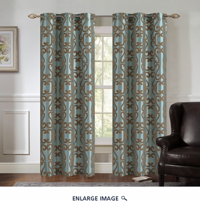 Pair of Ellie Spa/Taupe Jacquard Window Curtain Panels w/Grommets