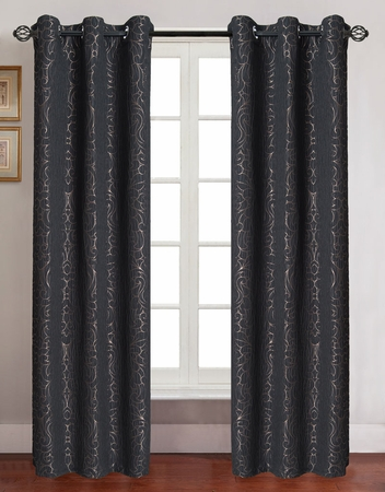 Pair of Georgia Black Jacquard Window Curtain Panels w/Grommets