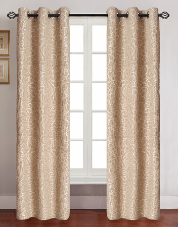 Pair of Georgia Gold Jacquard Window Curtain Panels w/Grommets