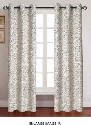 Pair of Georgia Ivory Jacquard Window Curtain Panels w/Grommets