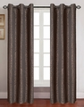 Pair of Georgia Mocha Jacquard Window Curtain Panels w/Grommets