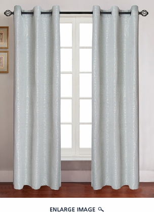 Pair of Georgia Sage Jacquard Window Curtain Panels w/Grommets