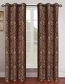 Pair of Gladys Chocolate/Mocha Jacquard Window Curtain Panels w/Grommets