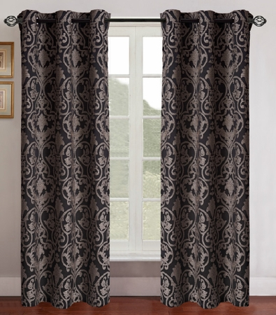 Pair of Gladys Gold/Black Jacquard Window Curtain Panels w/Grommets