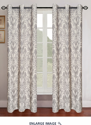 Pair of Gladys Gray/Ivory Jacquard Window Curtain Panels w/Grommets