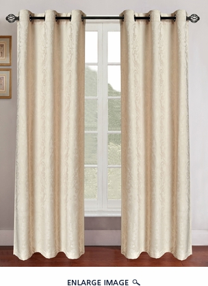 Pair of Gladys Ivory Jacquard Window Curtain Panels w/Grommets
