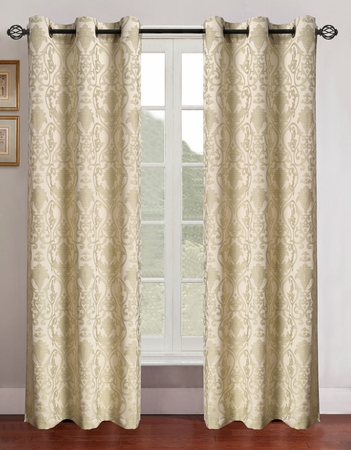 Pair of Gladys Sage/Ivory Jacquard Window Curtain Panels w/Grommets