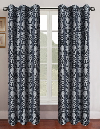 Pair of Gladys Silver/Black Jacquard Window Curtain Panels w/Grommets