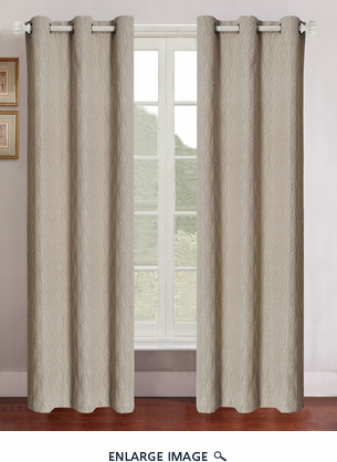 Pair of Grant Beige Jacquard Window Curtain Panels w/Grommets