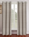 Pair of Grant Taupe Jacquard Window Curtain Panels w/Grommets