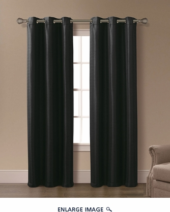 Pair of Isabelle Black Jacquard Window Curtain Panels w/Grommets