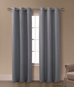 Pair of Isabelle Blue Jacquard Window Curtain Panels w/Grommets