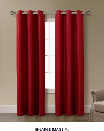 Pair of Isabelle Burgundy Jacquard Window Curtain Panels w/Grommets