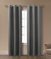 Pair of Isabelle Charcoal Jacquard Window Curtain Panels w/Grommets
