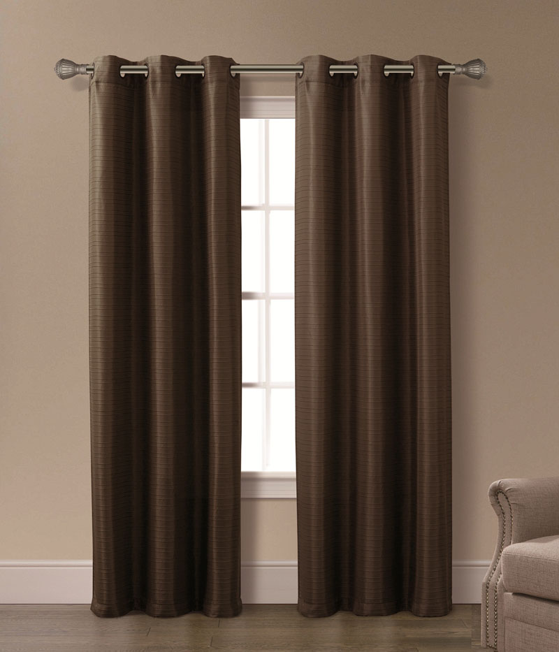 Pair of Isabelle Chocolate Jacquard Window Curtain Panels w/Grommets