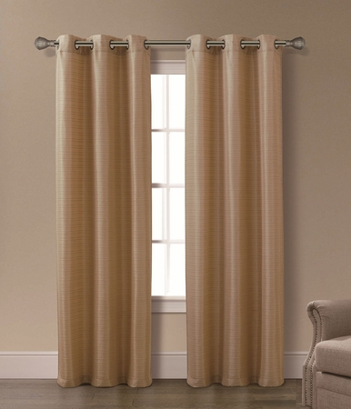 Pair of Isabelle Gold Jacquard Window Curtain Panels w/Grommets