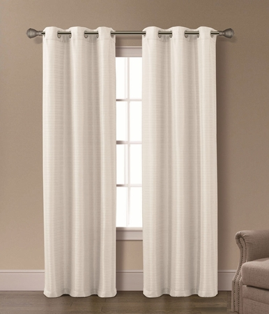 Pair of Isabelle Ivory Jacquard Window Curtain Panels w/Grommets